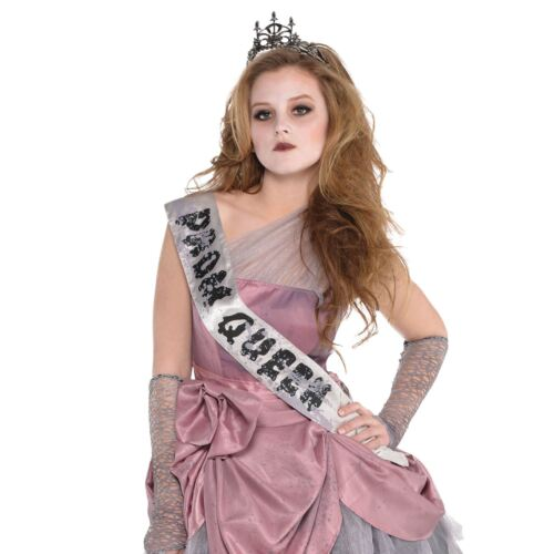Girls Zombie Prom Queen Costume Halloween Fancy Dress Teen High School Horror