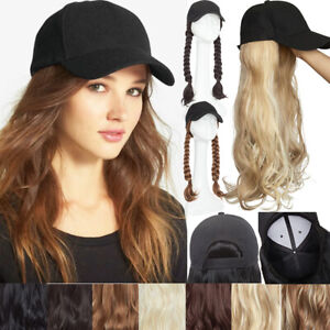 New-Long-Full-Caps-Hat-Hair-Piece-Party-Synthetic-Wavy-Curly-Women-Baseball-Cap
