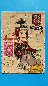 FRANCE-CARTE-MAXIMUM-YVERT-596-COIFFE-BOURGOGNE-2F40-5F-DIJON-1946