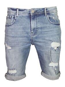 Men-039-s-Denim-Shorts-Slim-Fit-Stretch-Ripped-Distressed-Casual-Summer-Half-pants