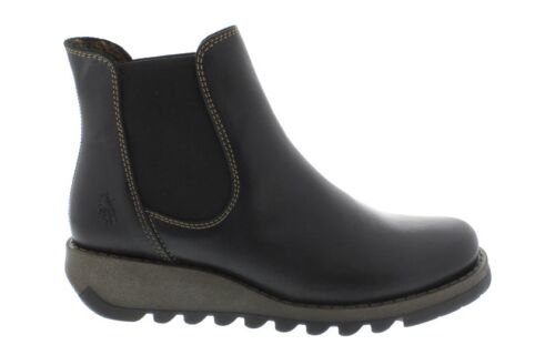 Fly London Ladies Salv Black Leather Boots New In