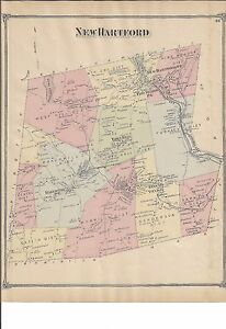 VINTAGE 1874, New Hartford, CT. Map with Homeowners Names Shown NOT ...