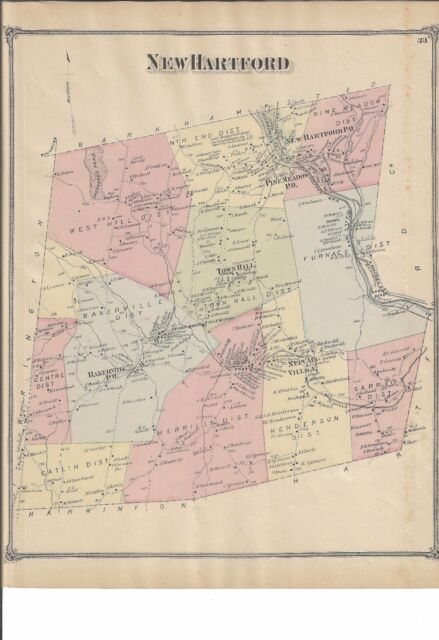 VINTAGE 1874 Winchester, CT. Map with Homeowners Names Shown NOT A ...