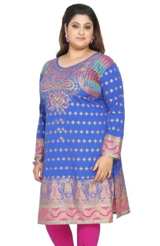 Women Indian Blue Tunic Kurta Top Shirt Dress eplus105C UK STOCK PLUS SIZES