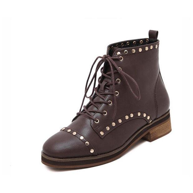 botas bajo zapatos botas militares 4 cm marrón elegantes como piel 9434
