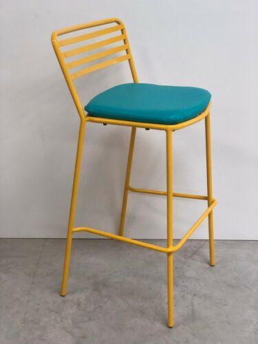 EX-SHOWROOM FUNKY DESIGNER HOME OFFICE METAL YELLOW STOOL BLUE SEAT PAD (109)
