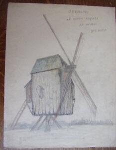2. Dessin Au Crayon. Moulin De Anquetz, Hameau Des Hutre Gravelines . Circa 1940