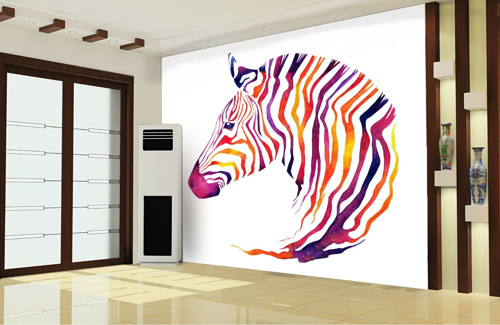 3D Farbeed Striped Zebra Paper Wall Print Wall Decal Wall Deco Indoor Murals