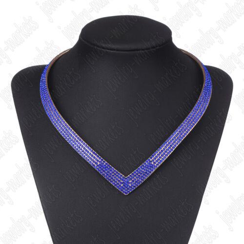 Woman Crystal Necklace Jewelry Rhinestone Bib Pendant Charm Chain Choker Collar