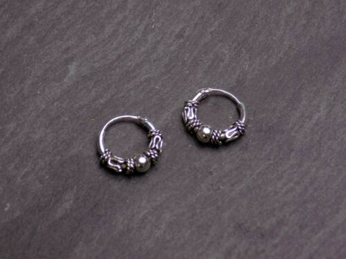 Pair of solid 925 Sterling Silver Bali Style Hoop Earrings Small Size 10mm Ball