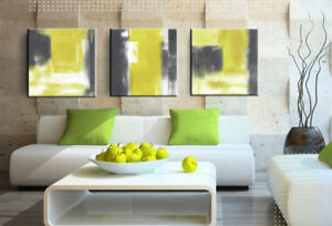 Details About Framed Abstract Painting Yellow Grey White 3 Piece Canvas Wall Art Picture Print