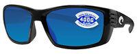 Costa Del Mar Cortez Shiny Black Frame Blue Mirror 400g Glass Lens
