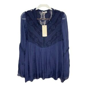 NWT Made In Italy Bellambra Silk Blouse w. Crochet Detail & Bell Sleeves