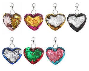 Wende Pailletten Taschenanhänger Schlüssel Anhänger Motiv Herz Viele Farben