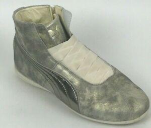 Puma-Eskiva-Mid-Pewter-Gold-Metallic-Zip-Up-Sneakers-36102302-Women-039-s-Size-9-M