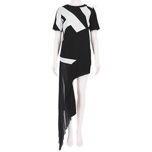 Anthony-Vaccarello-Black-White-Monogrammed-Side-Train-Mini-Dress-FR36-UK8