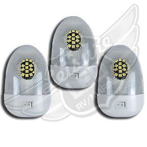 3 RV LED 12v Fixture Ceiling Camper Trailer Marine Euro style Single Dome Light