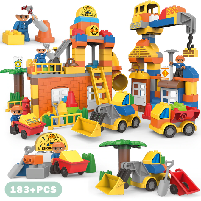 183 Pcs City Construction Excavator Vehicles Bulldoze Building Blocks Kids Toys