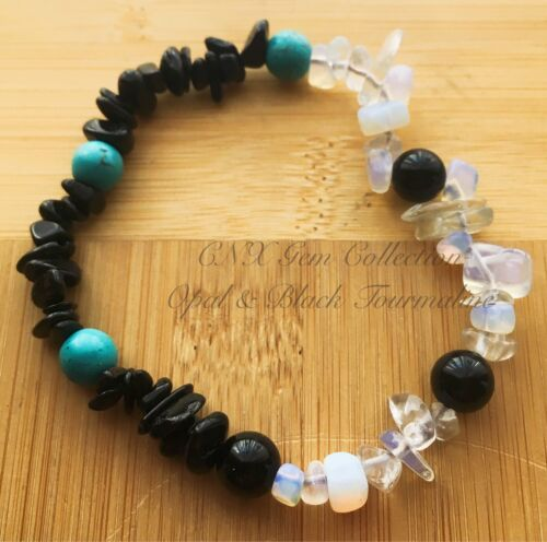 Gemstone Crystal Chip Opal N Black Tourmaline Chakra Beads Stretchy Bracelet Oct
