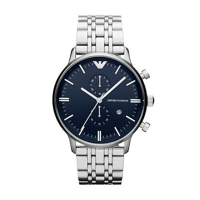 NEW EMPORIO ARMANI AR1648 MENS STEEL CHRONOGRAPH WATCH - 2 YEAR WARRANTY