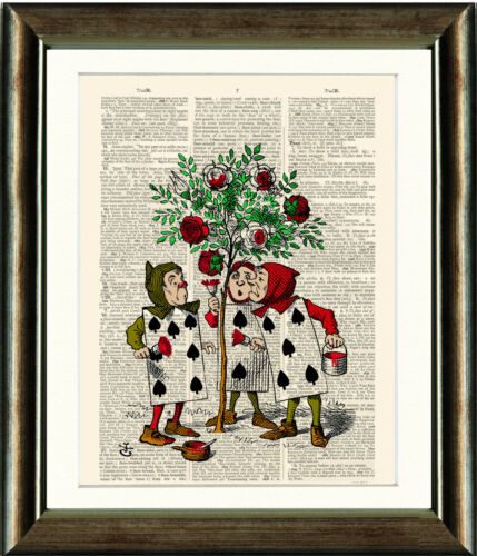Dictionary Book page Art Print Alice In Wonderland with Playing Cards Nursery