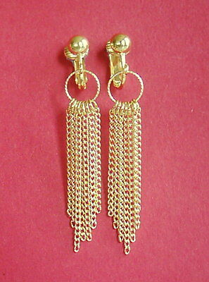 GOLDEN CHAIN DANGLERS *Style Choice*  CLIP ON EARRINGS or Hook Options
