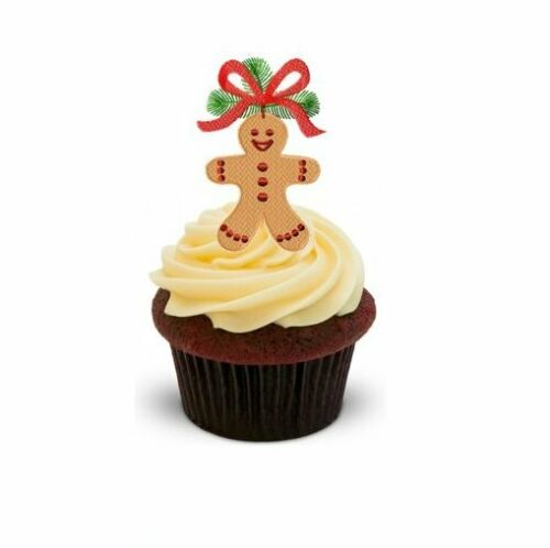 bow 12 standup edible image gâteau toppers celebrate party fun Gingerbread man