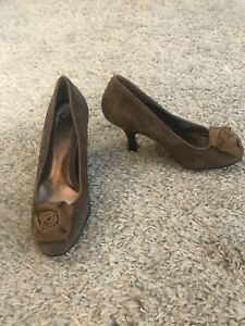 Sofft-Women-039-s-Pumps-Heels-Shoes-Brown-Suede-Size-7-5-M-Mary-Jane