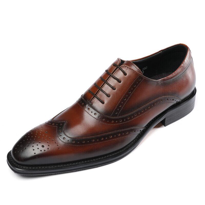 Herren Leder Schuhe Businessschuhe Rahmengenäht Schnürschuhe Budapester H6058