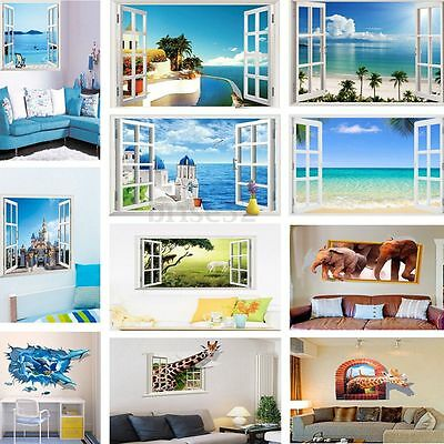 3D Effect Wall Art Sticker Window View Removable Decals Mural Home Room Decor