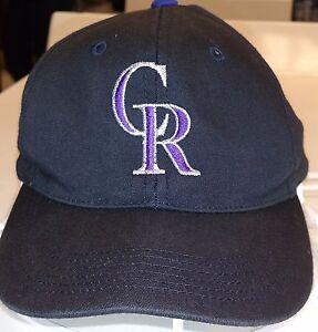 30a1c0aa7a7 Image is loading COLORADO-ROCKIES-Black-Purple-MLB-Hat-CR-Baseball-