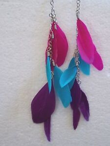 Tri Coloured Long Feather Earrings Choice Of Colours Clip On