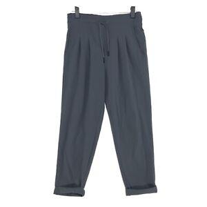 PrAna High Rise Pleated YOGA Athletic Pants Sz XS Gray Wide Elastic Drawstring