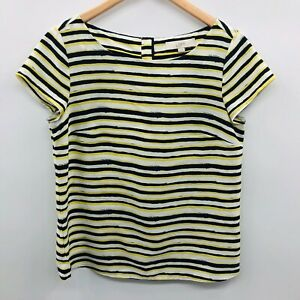 Ann-Taylor-LOFT-Womens-Medium-Short-Sleeve-Striped-Blouse-Top-Blue-Green-803