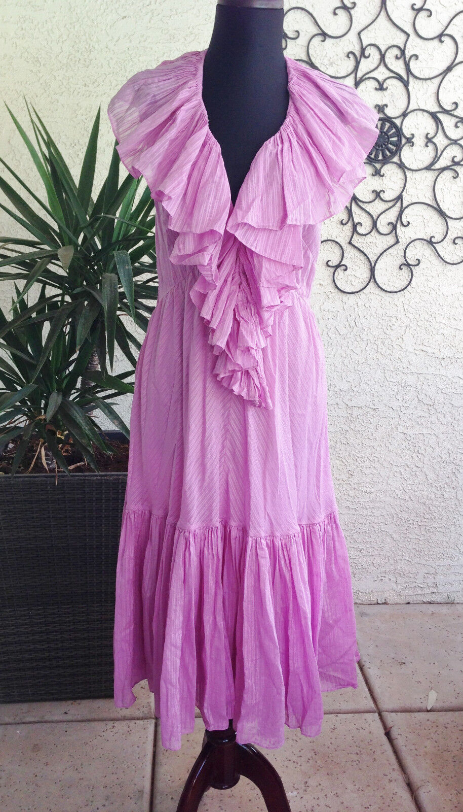 NWT Woherren Rare Ralph Lauren lila lila  Halter Boho Peasant Ruffle 10 dress