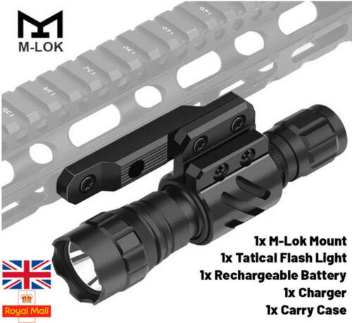 Horizon Tactical 1600 Lumen M Lok Rechargeable Torch flashlight Airsoft Case