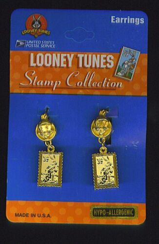Looney Tunes USPS Stamp Collection Tweety Bird /& Bugs Bunny Pierced Earrings NEW