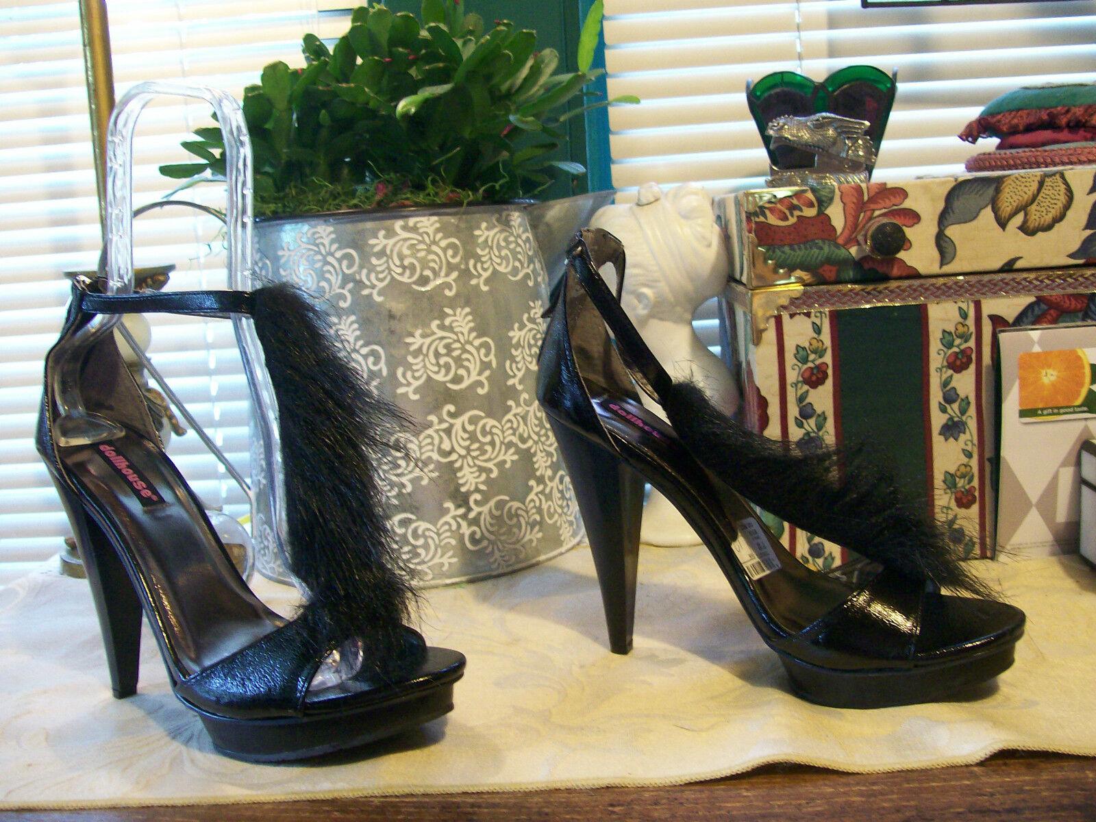 Dollhouse Crinkled Paent Peep Toe/T-Ankle Strap/Heel Zipper StilettosSZ 10 Black