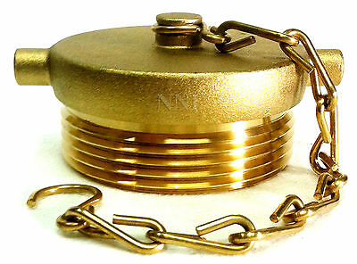 "Brass Finish 2-1//2/"" Fire Hose Hydrant or FDC Plug with Chain Aluminum"