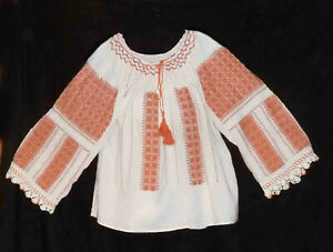 """Romanian Folk Traditional Blouse Embroidered Size 50"""" around chest Vintage Boho"""