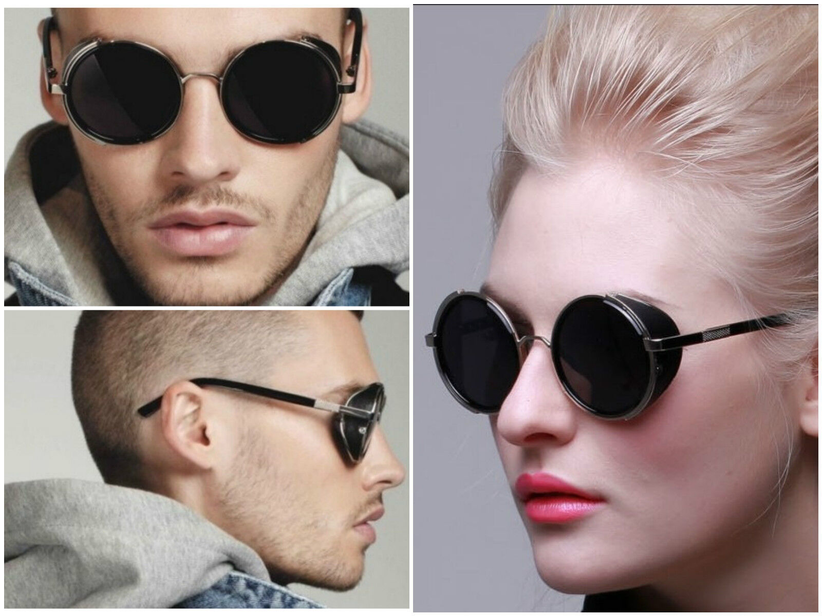 4cf58a2c1d0 Mens Womens Steampunk Round Vintage Retro Cyber Goggles Goth Emo Punk  Sunglasses