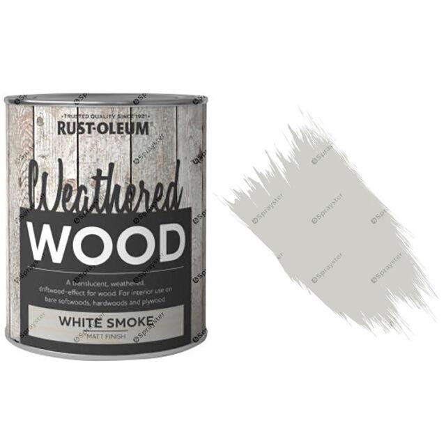 X1 Rust-Oleum Weathered bois rustique TRANSLUCIDE peinture 750ML BLANC fumé mat