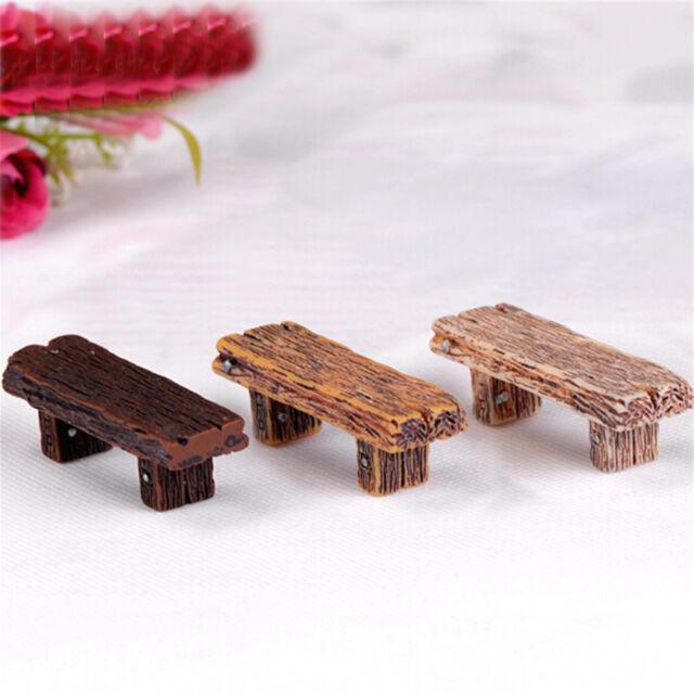 3Pcs Benches Miniature Ornaments Fairy Garden Bonsai Decor Dollhouse Accessorie+