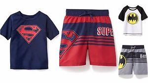 eefbda11e0 NWT Old Navy Superheroes Rashguard OR Swim Trunks Batman Superman ...