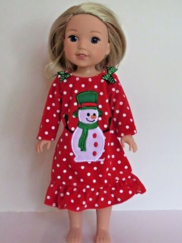 "Snowman Pajama Nightgown Fits American Girl 14.5"" Wellie Wisher Doll Clothes"