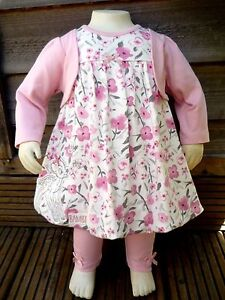 Baby Girl 3 Pack Pink Flower Bambi Sleepsuits Age  0 3 6 9 Month