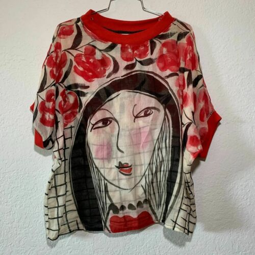 Yodyoko Women's Hand Painted Art To Wear Blouse Si
