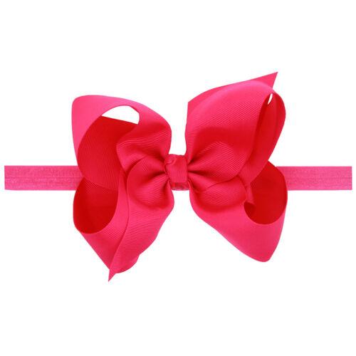 Baby Kids Girls Bowknot Flower Ribbon Elastic Hair Bands Solid Bow Headbands Lot