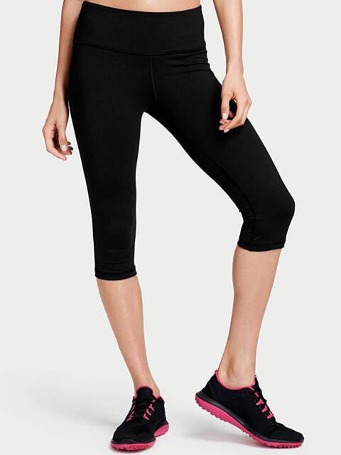 1f6f558bcc4e47 Victoria's Secret Sport VSX Knockout Medium Rise Crop Capri XS Black Yoga