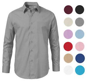 Men-039-s-Solid-Long-Sleeve-Formal-Button-Up-Standard-Barrel-Cuff-Dress-Shirt